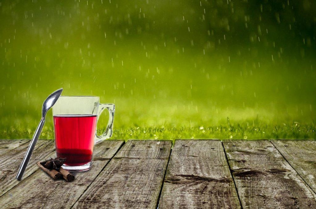 día de lluvia con una taza de te